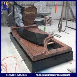 Grabado con láser de estilo francés hermosa gran lápida de granito rojo y negro de la Grave