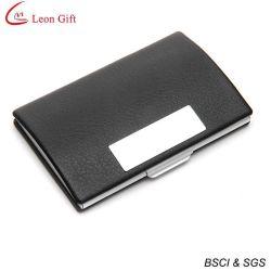 Porta carte di credito in pelle di alluminio con nome commerciale