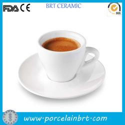 Witte Ceramische Douane/Populaire Druk/de Koffie van het Porselein/de Espresso van de Thee/Kop Cappucino met Schotel