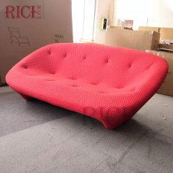 Modernes Minimalistisches Design Zwei Sitze Nordic Stoff Sofa Set Möbel Einzigartiges Rotes Minimales Stoffsofa Mit Tiefen Knöpfen