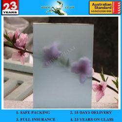 4-12mm Bleu satin verre gravé d'acide avec AS/NZS2208 : 1996