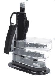 Black Color415のプラスチックDesk Rotation Stationery Organizer