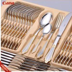 食事用食器セットは木のケースおよび絵の具箱によって金86部分のステンレス鋼の食事用器具類セットをめっきした