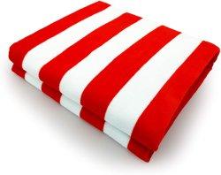 """100% algodão às Riscas vermelhas cabana de praia/piscina/Toalha de banho (30"""" X 60""""), secagem rápida, leve e absorventes."""