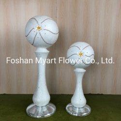 Vaso di fiore elegante all'ingrosso della resina dell'argento dell'oro della perla del pavimento dell'OEM per la decorazione domestica