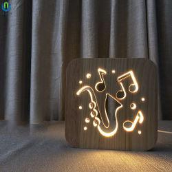 선물을%s LED 테이블 램프를 새기는 USB 전력 공급 단단한 나무