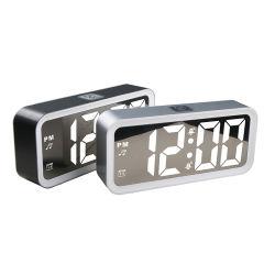Multifunción Doublel espejo posponer la pantalla LCD LED Reloj Despertador Escritorio
