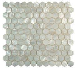 バスルームのキッチンウォール用のナチュラルホワイトヘキサゴンシェルモザイクタイル