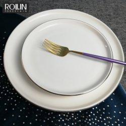 Фарфор боковые пластины и пластины с ужином с золотым обод для проведения свадеб и банкетов