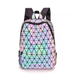 Геометрические световой рюкзак голографических женщин дорожная сумка