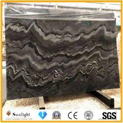 Popolare piano di cristallo lucido piano di marmo nero pietra per pavimento / parete Piastrelle