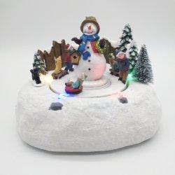 顧客用装飾的な回転スノーマンのクリスマスのスノーマンの村の記念品のオルゴール