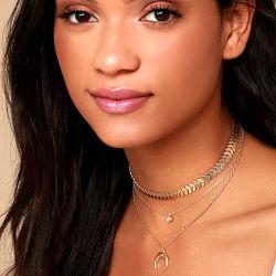La Media Luna multicapa de Metal Colgante Collar Gargantilla de perlas de la cadena de la Clavícula