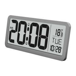 """14 """"大きいLCDスクリーンのデスクトップのデジタル寝室のカレンダが付いている電子柱時計"""