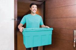 Hot vendre Nestable prix d'usine empilables et les caisses de plastique avec couvercle à charnière