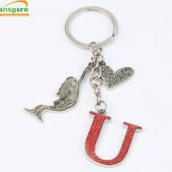 Commerce de gros cadeau promotionnel de souvenirs personnalisés des échantillons gratuits Lettre de l'anneau de clé en métal
