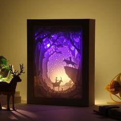 新しい方法創造的なデザインペーパーフレームの影ペーパー切り分けるフレームの絵画、USBデータが付いているランプを切り分けるロマンチックな夜ライト3Dペーパー