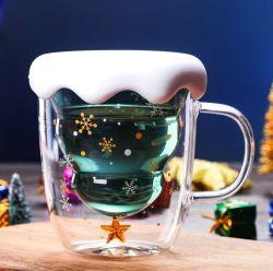 Handgemachtes Weihnachtsdoppel-wandiges Glascup-Set
