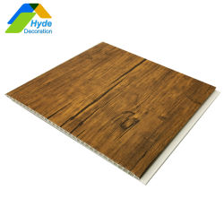 Neues Design Holzfarbenmuster PVC falsche Decke für Büro-Wanddekoration Haushaltsdekor