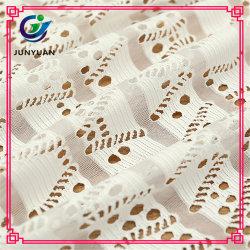 Tecido de algodão Jacquard Mesh Lace para roupas femininas elegantes