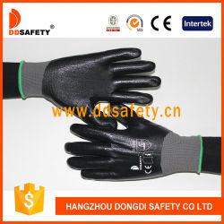 黒いニトリルの十分に上塗を施してある手袋のセリウム3121が付いているDdsafety 13のゲージの灰色のナイロンはさみ金