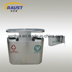 Le recyclage séparés de grande capacité intérieure double de la foutaise Barrel Stainless Steel dust bin