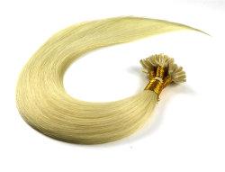 """22 """" Pointe d'Ongles Blonde hair extensions meilleur Virgin Remy Cheveux humains #613 Pre-Bonded droites de la soie de la kératine Hair Extensions cheveux épais fin double tiré les cheveux"""