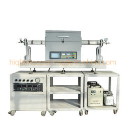 de Oven van de Buis van de enig-Streek 1200c voor CVD met Hoog Vacuüm, het Ce Verklaarde Scherm Van uitstekende kwaliteit Drie van de Aanraking van het Laboratorium de Oven van de Buis van CVD van Streken