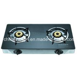verre trempé haut acier inoxydable 2 brûleurs cuisinière à gaz/cuisinière à gaz