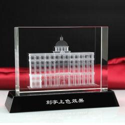 Modelo de arquitectura láser 3D Cubo de cristal pisapapeles de cristal
