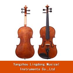 Tamaño completo 4/4 Solidwood violín Maple diapasón de ébano Pegs con arco de violín de resina de alta calidad