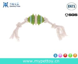 Corde de coton avec la nature de jouets pour animaux de compagnie en caoutchouc