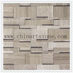 Mosaico de pedra mármore polido 3D e acabamentos dividido para parede