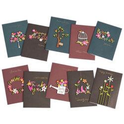 핸드메이드 드링크블 플레이스 카드 드라이 플라워가 있는 웨딩 생일 카드 공장 생일 카드