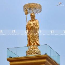 Custom Gold Leaf Bronce Buda Estatua de Ksitigarbha Bodhisattva
