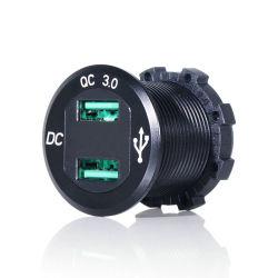 防水高速充電デジタル電圧ディスプレイ QC3.0 車載 USB 充電器 スマートフォン用電源プラグ
