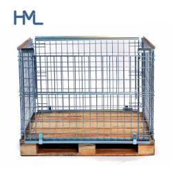 [هوميلونغ] يطوي معدن شبكة تخزين قفص من مع من خشبيّة
