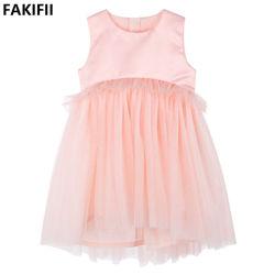 На заводе Fakifii 2021 Летние Cute розового цвета сетки День Рождения одежды для детей цветов девочек