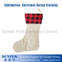 Calza in bianco della tela da imballaggio della decorazione di natale di sublimazione