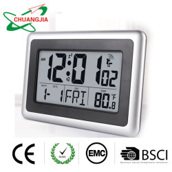 Digital atómica relógio de parede com a temperatura interior por grosso