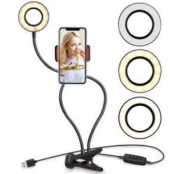 [بورتبل] مكتب آلة تصوير [سلفي] حل ضوء [ديمّبل] [لد] حل [سلفي] ضوء مع [سلّ فون] حامل حامل قفص لأنّ حيّة تيار بنية
