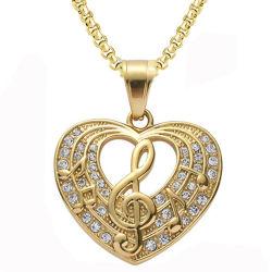 أزياء مجوهرات ماسية كاملة على شكل قلب رمز موسيقى قلادة عقد
