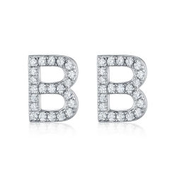 925 Déclaration de bijoux en argent sterling Lettre B Stud Earring Femmes Accessoires de Mode coréenne