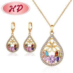 I monili d'imitazione di fascino del braccialetto dell'anello del costume placcati oro di modo 18K con l'orecchino, il pendente, collana impostano i monili per le donne