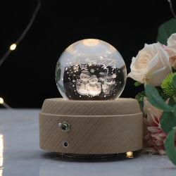 2021 Neueste USB wiederaufladbare Batterie Crystal Ball Holz LED Basis Schneemann 3D Kristall Nachtlampe mit Musik-Box