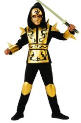 Cool Negro Oro traje Ninja Dragon Boy