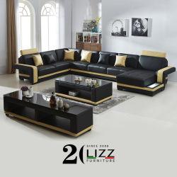 Fabriek Groothandel Luxe functioneel Home meubilair woonkamer Leisure LED Bovenste graanset, echt leren sofa