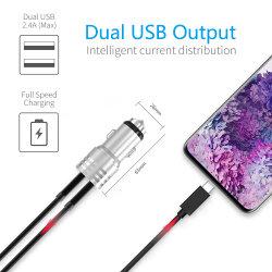 USB Aluminium autolader met twee poorten mobiele telefoon Accessoires voor IPhone