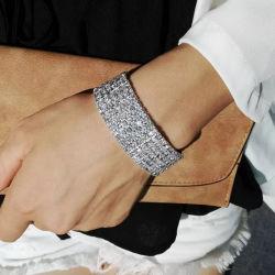 Het in het groot Aangepaste Goud plateerde Inspirational RubberArmband van de Ketting van Zircon van de Parel van de Diamant van de Legering van het Roestvrij staal van de Charme van de Manier van Juwelen voor Vrouwen