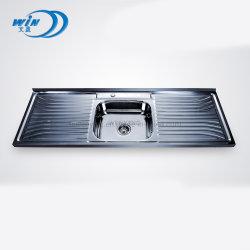 1500*500 mm sur un seul bol Drainboard haut Mont Inset évier de cuisine en acier inoxydable